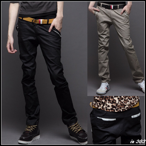Semir spring models new men's Korean Slim leather piping hit color fashion casual trousers men's genuine Smith Barney