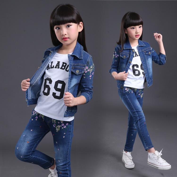 1a8aaf6e1 2019 Baby Girl Clothes 2018 Autumn Girls Cowboy Casual Sportswear ...