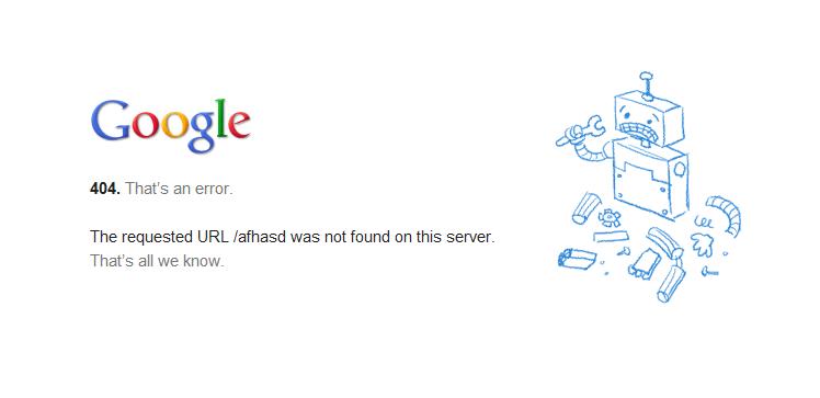 谷歌 404 错误页面