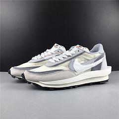 顶级版本!Sacai x Nike LVD Waffle Daybre 联名走秀款 白灰色 网纱皮面拼接 双勾Swoosh跑步鞋  顶级原装材料 货号BV0073-100 号码36-46 出货36