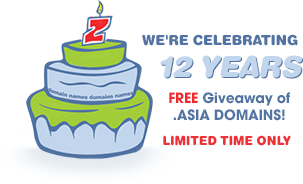 CrazyDomains 12周年活动:顶级域名.asia免费注册1年   爱软客