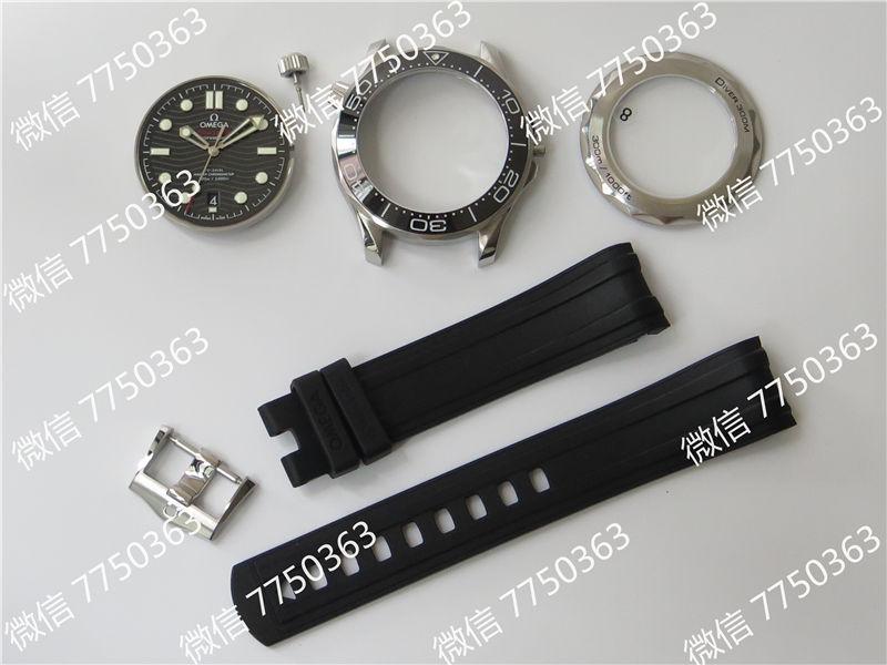 VS厂欧米茄海马300米黑面波浪纹胶带款复刻表拆解测评-第2张