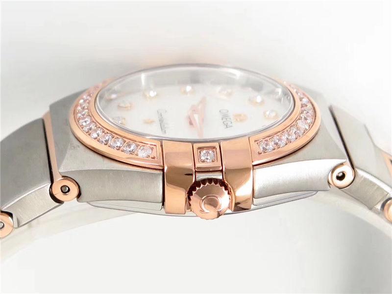 ZF厂欧米茄星座石英女款玫瑰金钻圈_复刻表与正品对比测评