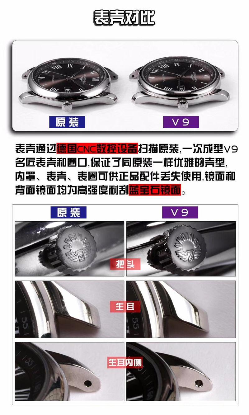 V9厂浪琴名匠三针日历40mm_复刻表与正品对比测评-第5张