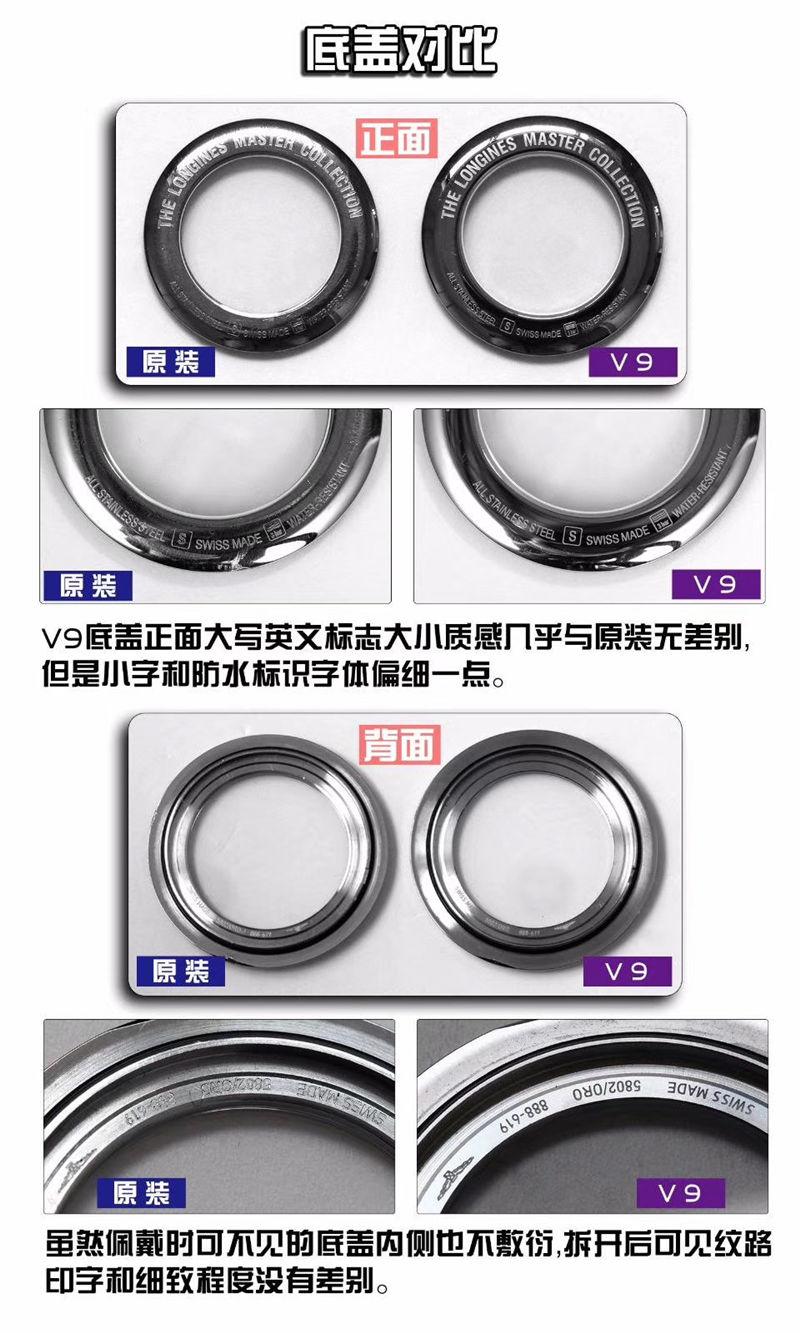 V9厂浪琴名匠三针日历40mm_复刻表与正品对比测评-第6张