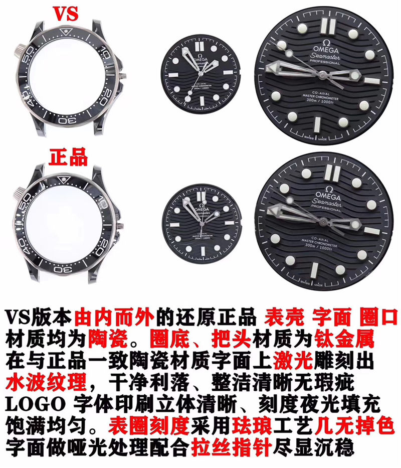 VS厂欧米茄全新陶瓷钛海马300米黑暗骑士_复刻表与正品对比测评-第5张