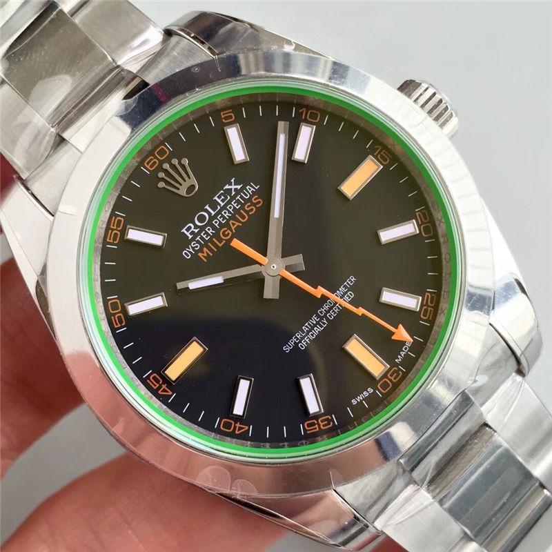 AR厂劳力士闪电针绿玻璃m116400gv-0001黑盘_复刻表与正品对比测评-第4张