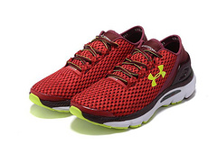 Under Armour running shoes red fluorescent green