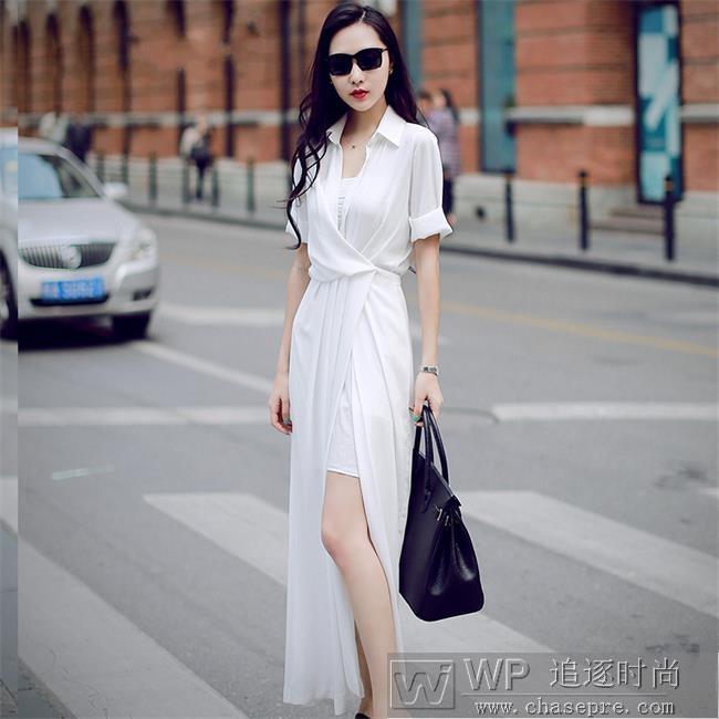 春夏女装流行趋势  时尚高腰开叉长裙