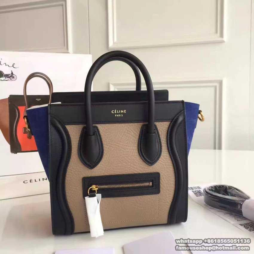See More Pictures Of Original Quality Celine Nano Luge Handbag In Porcelain Multicolour Baby Grained Calfskin