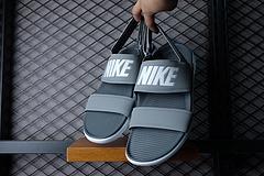 灰色出货!qq红包秒抢软件Nike Tanjun Sandal 灰色字母女鞋忍者沙滩凉拖鞋 36-44