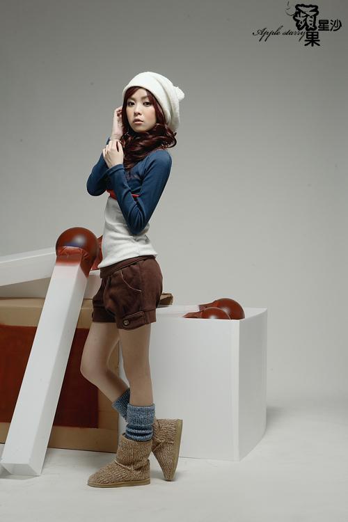 韩版新款女装拼色长袖V领上衣