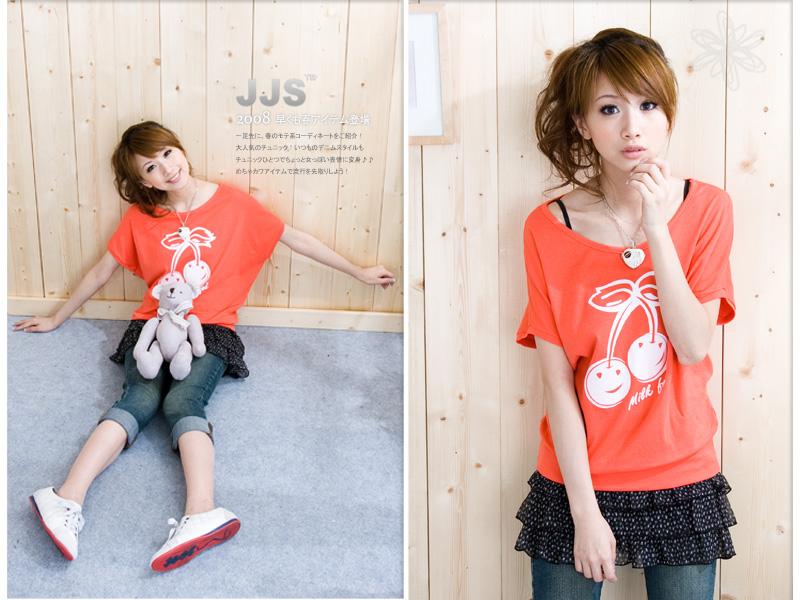 韩版新款女装可爱樱桃印花T恤