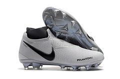出货39451耐克暗煞系列灰红高帮针织面Flyknit360技术防水FG钉足球鞋NikePhantomVisionEliteDFFG3945