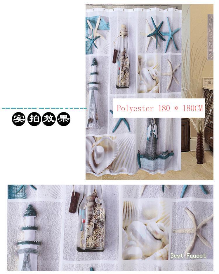 Bathroom Curtain Have Seashell And Sandy Beach Decorate Shower Curtain Y 066A