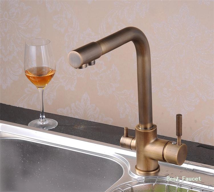 Antique Brass 3 Way Dual Kitchen Faucet Sink Mixer Tap Pure Water Filter H806