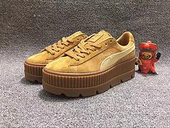 彪马板鞋大表姐刘雯同款黄色 小麦色 猪巴皮 PUMA Fenty Creeper 蕾哈娜增高厚底 女神松糕鞋35 35.5 36 37.5 38 38.5 39
