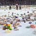 冰球场上的扔泰迪熊活动