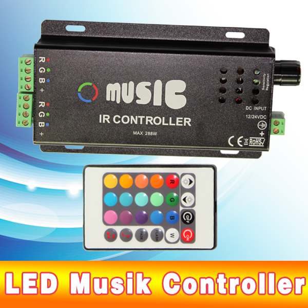 led musik controller sound steuerung steuerger t rgb strip 24 key fernbedienung ebay. Black Bedroom Furniture Sets. Home Design Ideas
