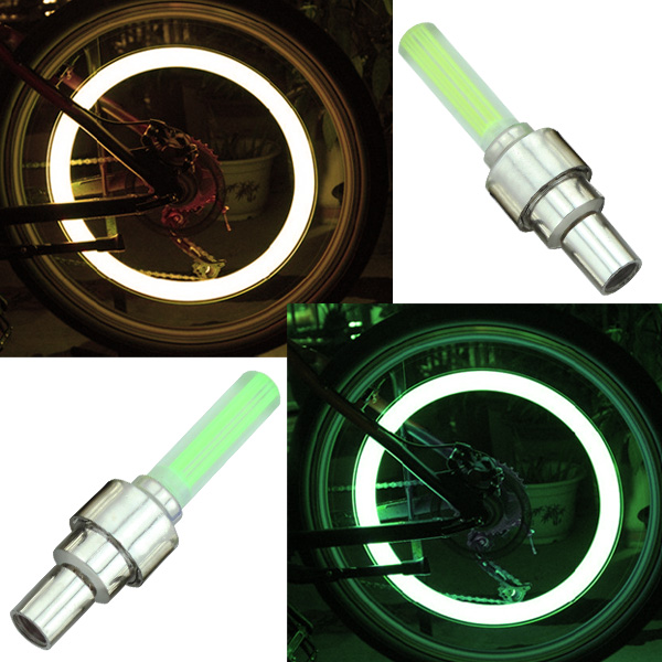 2 x led ventilkappen fahrrad auto motorrad ventilkappe reifen bike felgen licht ebay. Black Bedroom Furniture Sets. Home Design Ideas