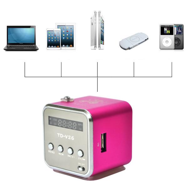 mini lcd lautsprecher musikbox mp3 player fm radio usb. Black Bedroom Furniture Sets. Home Design Ideas