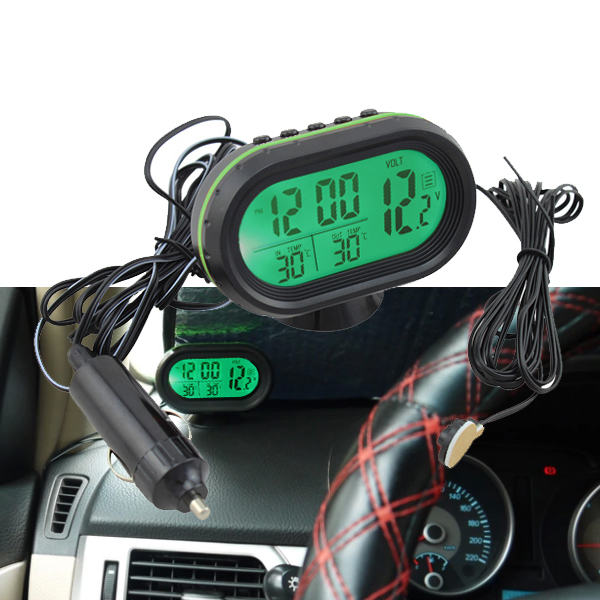 auto lcd digital innen au en thermometer spannungstester voltmeter alarm uhr 12v ebay. Black Bedroom Furniture Sets. Home Design Ideas