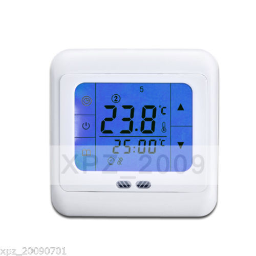 digital raumthermostat thermostat fussbodenheizung touchscreen ebay. Black Bedroom Furniture Sets. Home Design Ideas