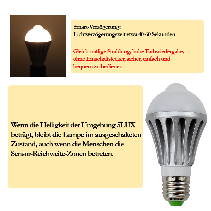 2x 7w e27 led birne lampe mit bewegungsmelder pir d mmerungssensor treppen bulb ebay. Black Bedroom Furniture Sets. Home Design Ideas