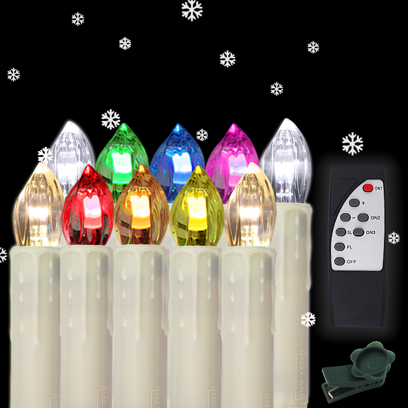 10 100x led mini weihnachtskerzen kabellose - Kabellose christbaumkerzen mini ...
