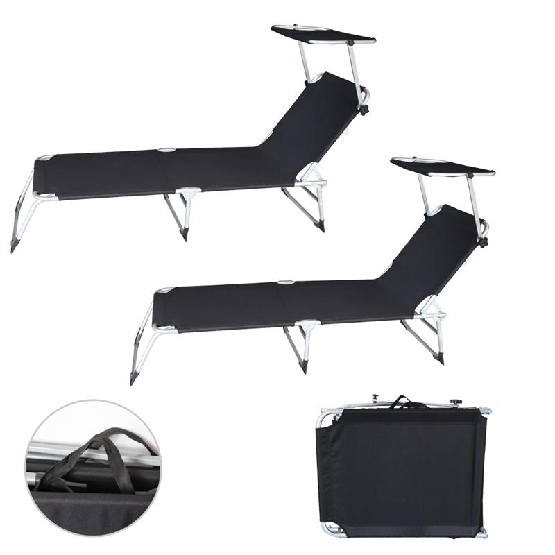 2x alu sonnenliege gartenliege liege mit dach dreibeinliege bis110kg faltbar ebay. Black Bedroom Furniture Sets. Home Design Ideas