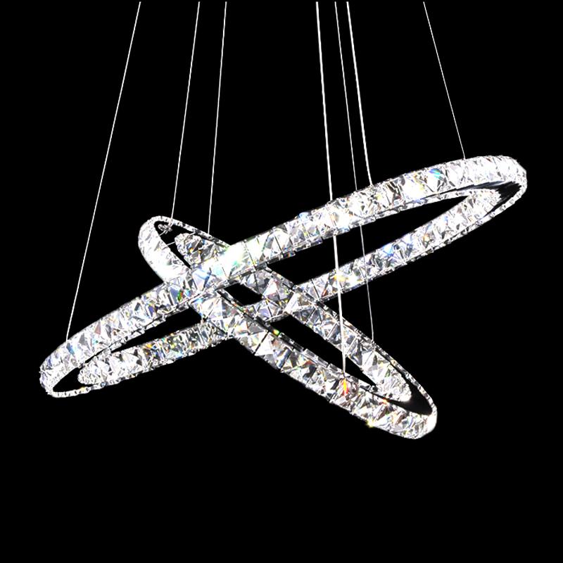 2 ring dimmbar led kristall deckenleuchte h ngelampe. Black Bedroom Furniture Sets. Home Design Ideas