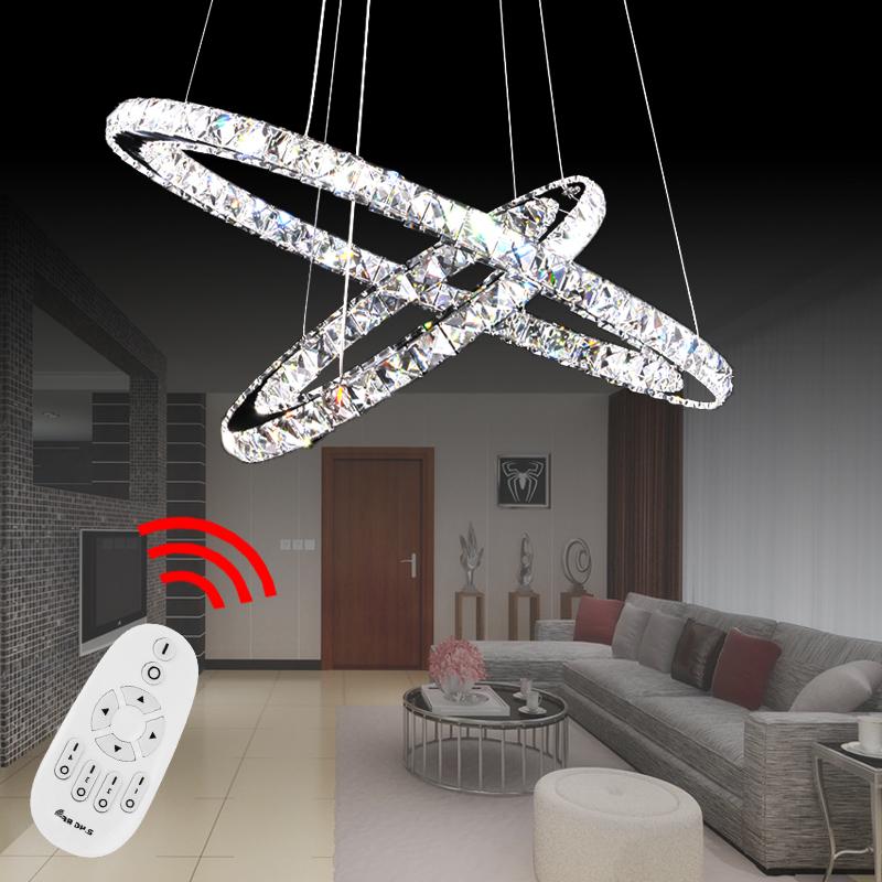 2 3 ring dimmbar led kristall deckenleuchte h ngelampe. Black Bedroom Furniture Sets. Home Design Ideas