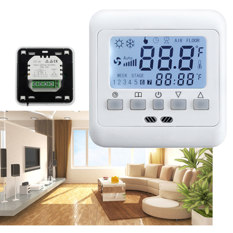 5x digital thermostat digitaler raumthermostat bodenf hler fu bodenheizung 16a ebay. Black Bedroom Furniture Sets. Home Design Ideas