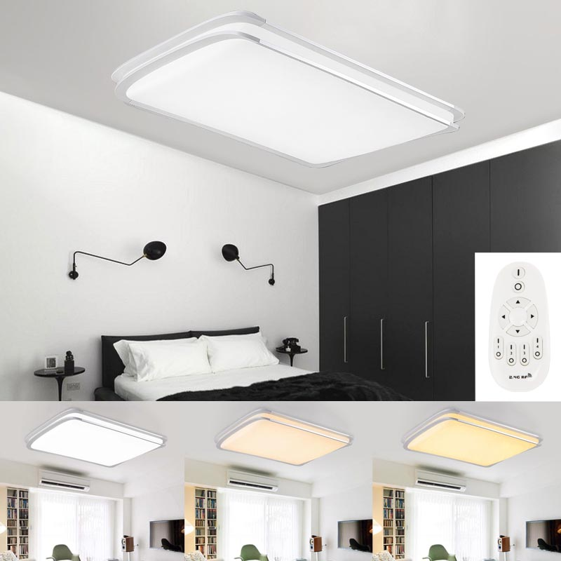 led deckenlampe deckenleuchte wohnzimmer k chen wandlampe dimmbar 48w 64w 96w ebay. Black Bedroom Furniture Sets. Home Design Ideas