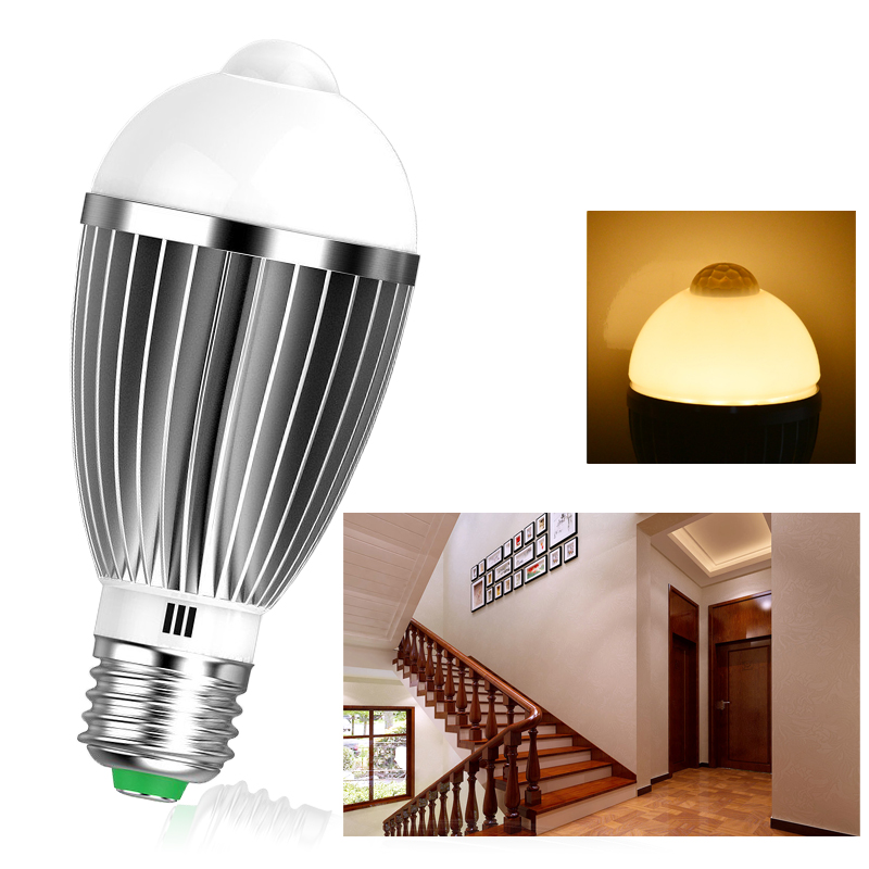 7w led e27 birne lampe warmwei gl hbirne mit bewegungsmelder pir sensor licht ebay. Black Bedroom Furniture Sets. Home Design Ideas