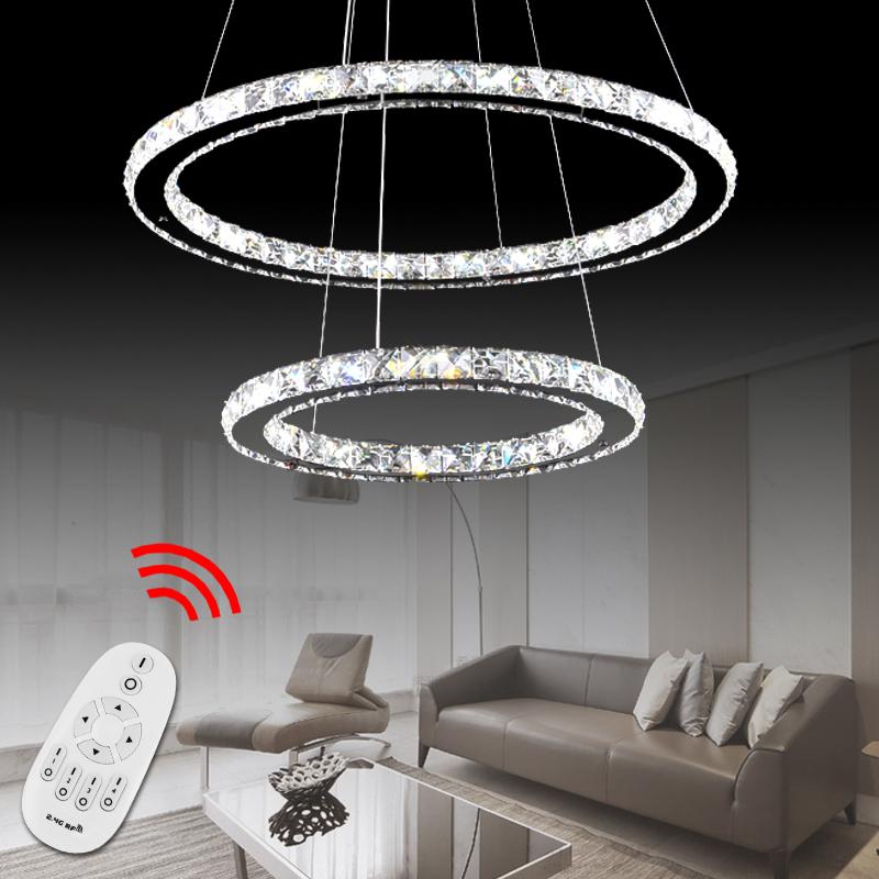 2 3 Ringe LED Deckenleuchte Kristall Leuchte Wohnzimmer Hngeleuchte Dimmbar