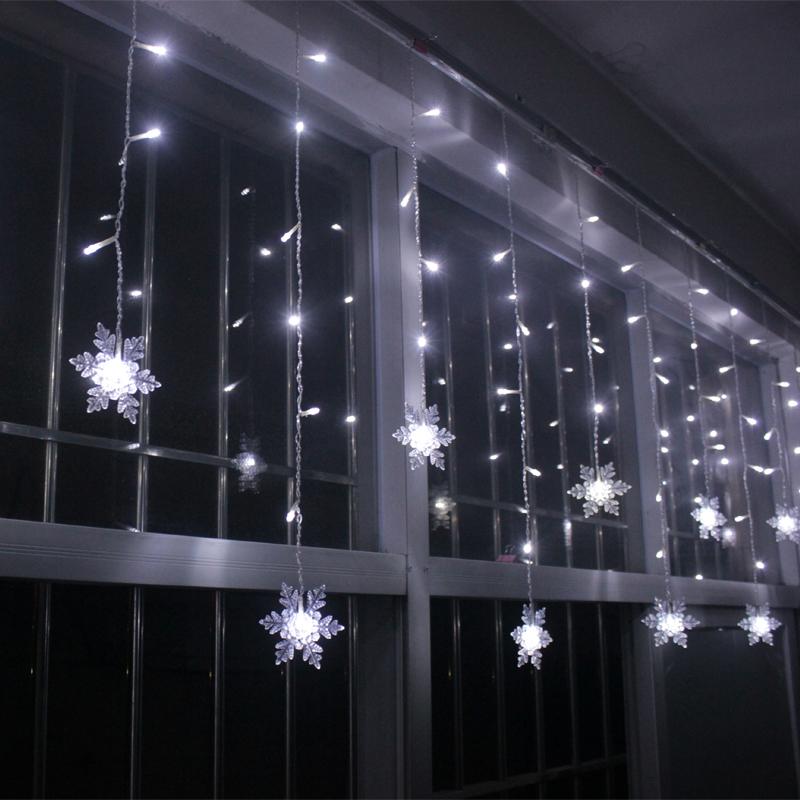 Short Led String Lights : LED Snowflake Curtain Xmas Tree Hanging Fairy Lights String Icicle 150 LED eBay