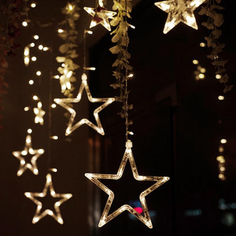 led sternenvorhang lichterkette lichtervorhang weihnachten. Black Bedroom Furniture Sets. Home Design Ideas