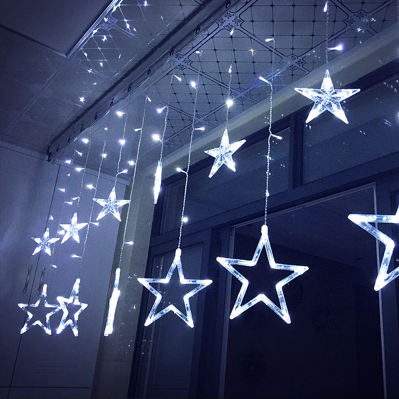led star snowflake moon and star curtains icicle. Black Bedroom Furniture Sets. Home Design Ideas