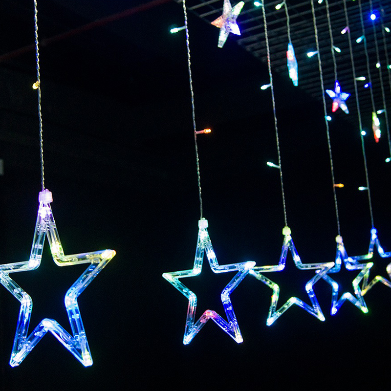 Star Moon String Lights : LED Star / Snowflake / Moon and Star Curtains Icicle String Fairy Light Window eBay