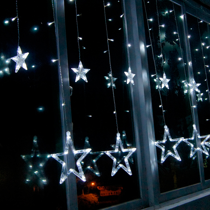 138 led white 12 twinkling stars curtain light christmas for White twinkle christmas lights