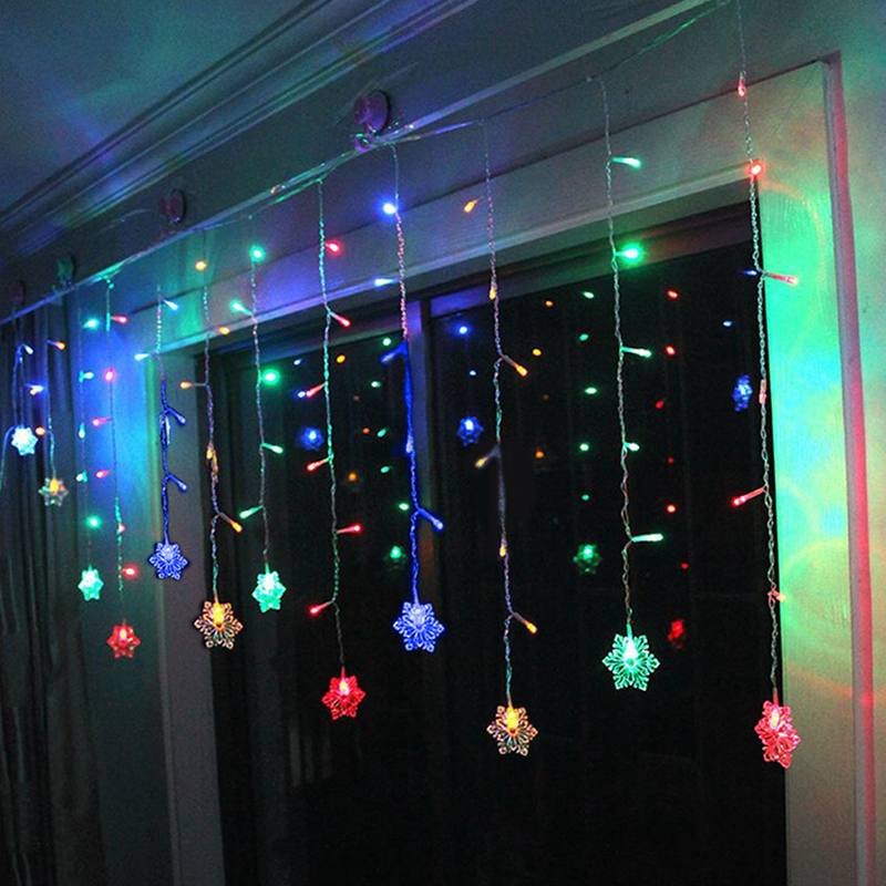 LED Star / Snowflake / Moon and Star Curtains Icicle String Fairy Light Window eBay