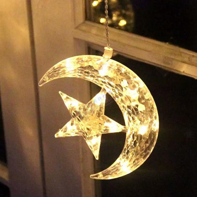 138 LED Moon and Star Fairy Curtains Pendant String Light Christmas Wedding eBay