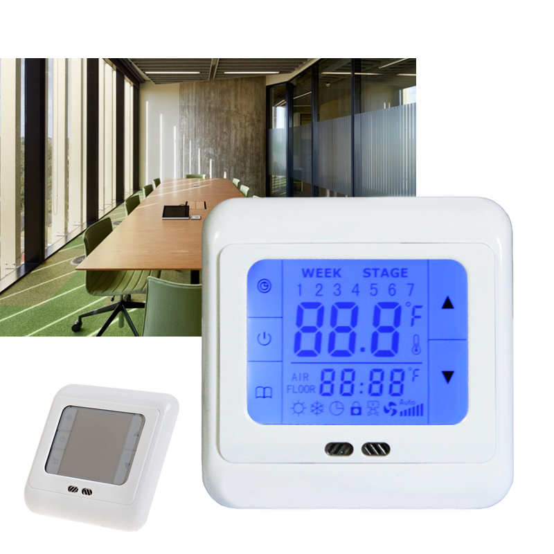 thermostat digital programmierbar raumthermostat fussbodenheizung touchscreen ebay. Black Bedroom Furniture Sets. Home Design Ideas