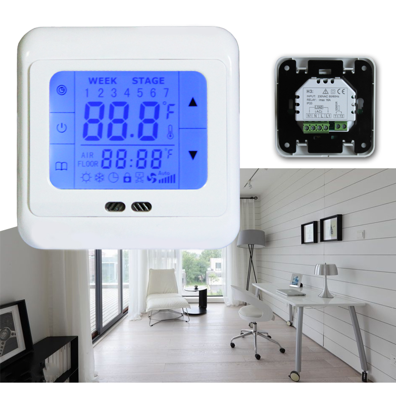 8x raumthermostat digital lcd touchscreen thermostat. Black Bedroom Furniture Sets. Home Design Ideas