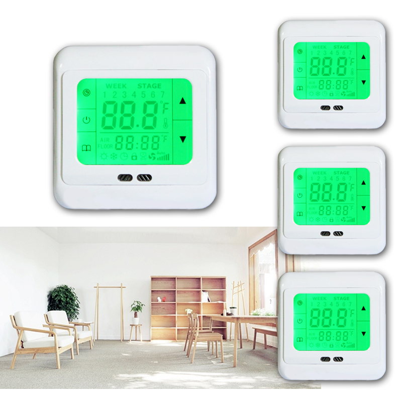 4x lcd digital raumthermostat digitaler bodenf hler. Black Bedroom Furniture Sets. Home Design Ideas
