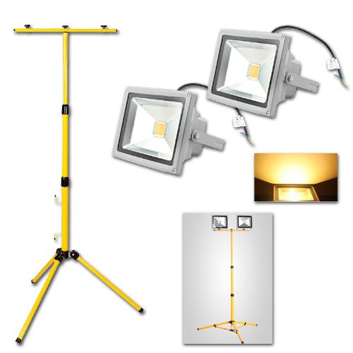 2x 20w warmwei led strahler floodlight leuchte doppelt teleskop stativ ip65 ebay. Black Bedroom Furniture Sets. Home Design Ideas