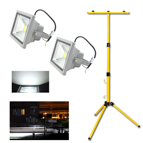 2x 30w wei led strahler flutlicht fluter scheinwerfer doppelt teleskop stativ ebay. Black Bedroom Furniture Sets. Home Design Ideas