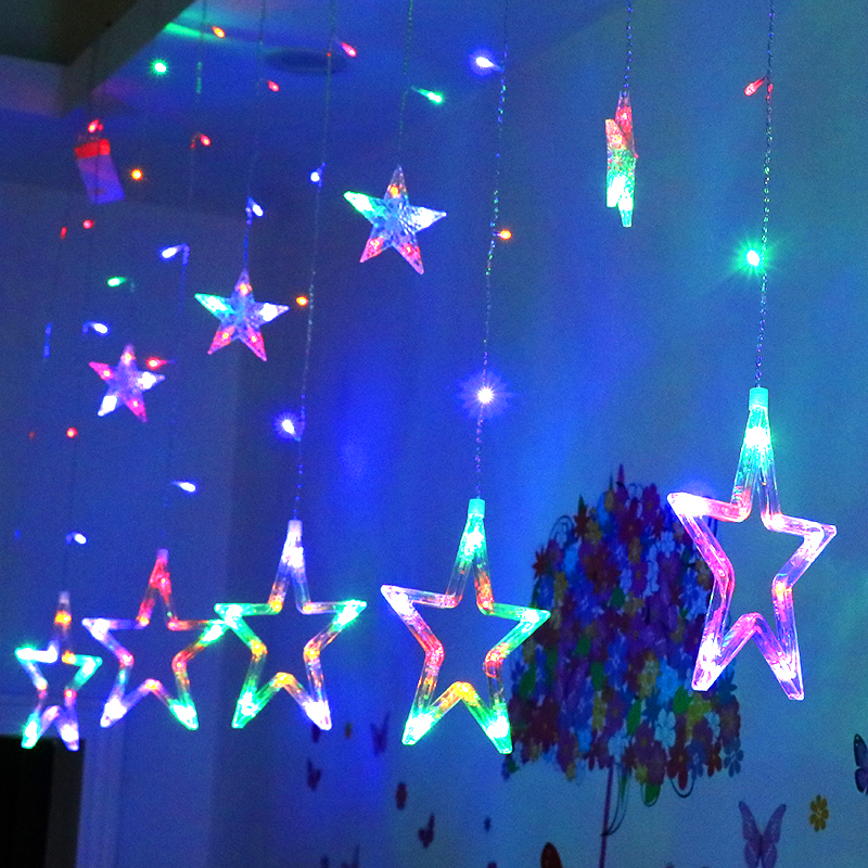LED Star Curtain Light Christmas String Light Curtain Lights Waterproof Party eBay