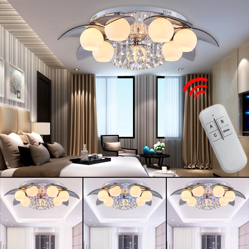 15 35w e27 led deckenleuchte kristall deckenlampe wandlampe mit fernbedienung ebay. Black Bedroom Furniture Sets. Home Design Ideas